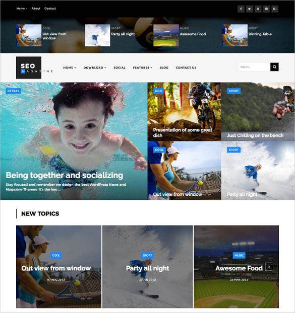 sports magazine blogger website template