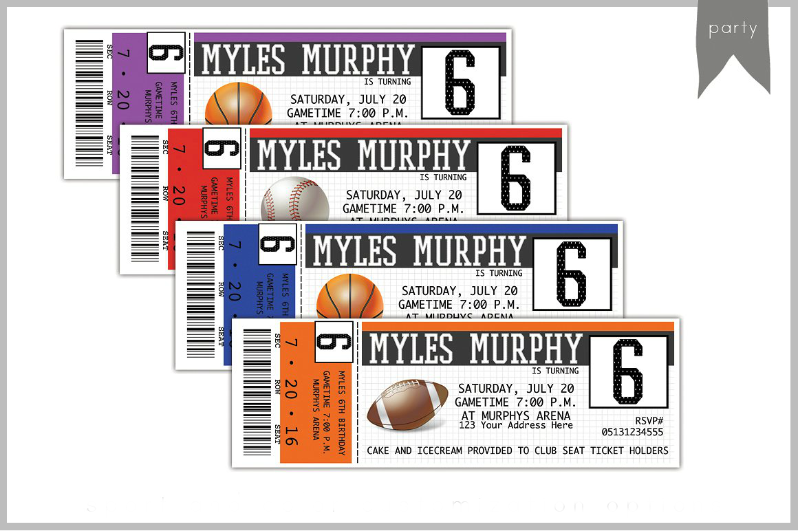 sports ticket birthday invitation card
