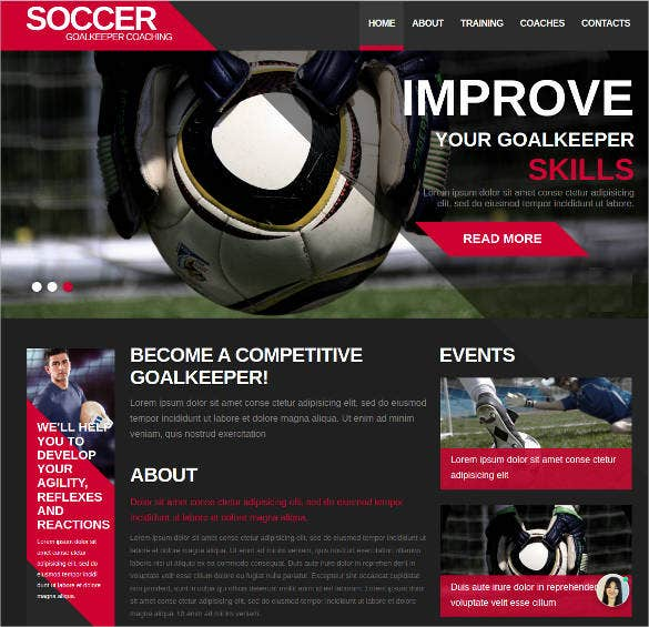 sports website template for soccer team
