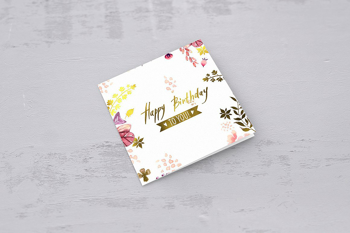 square birthday card psd