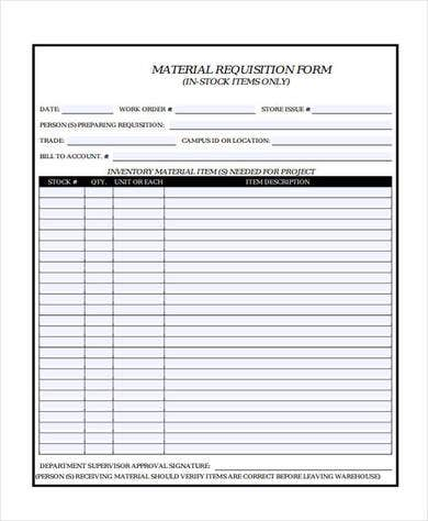 Material Order Form  Free  Premium Templates