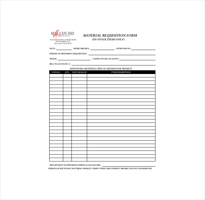 Store Material Requisition Order Form