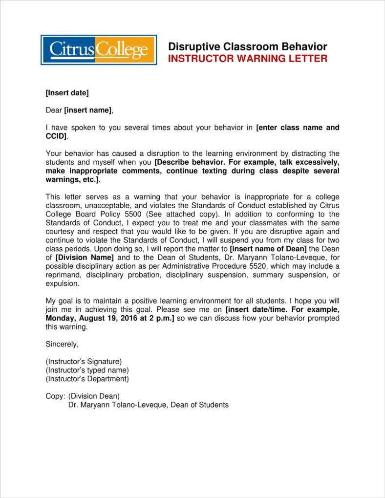 Student Conduct Warning Letter