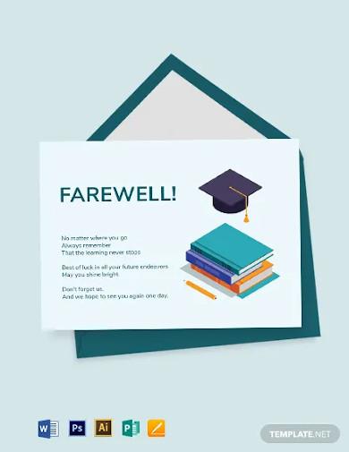 student farewell card template