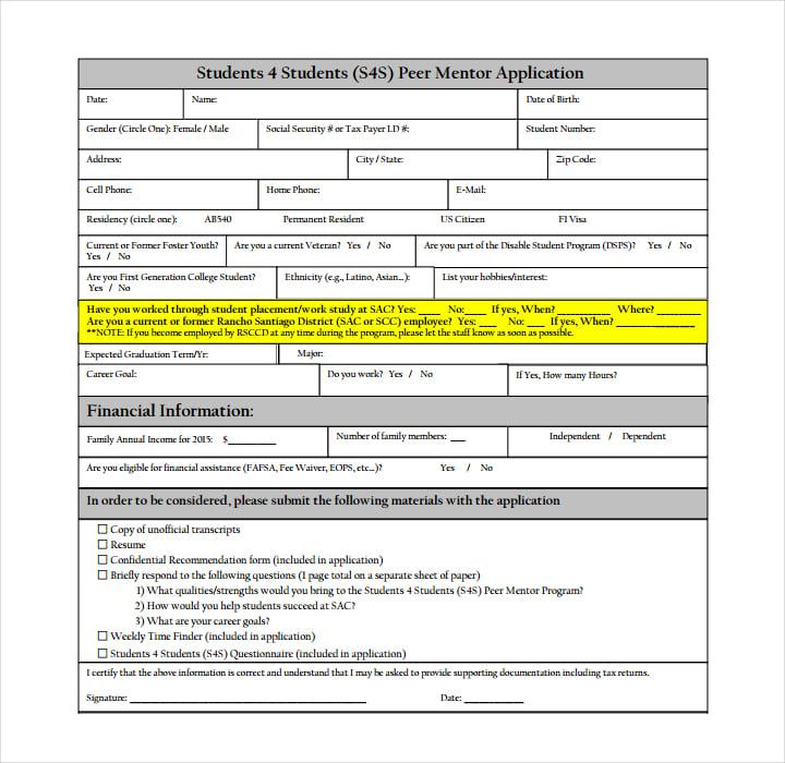 Student Peer Mentor Application Form