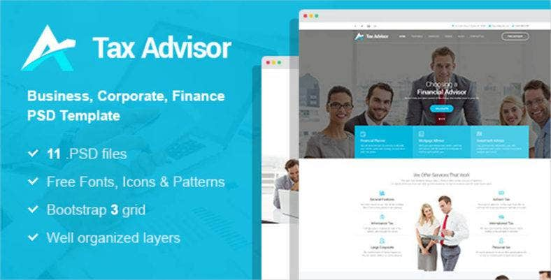 tax adviser financial psd template 788x401