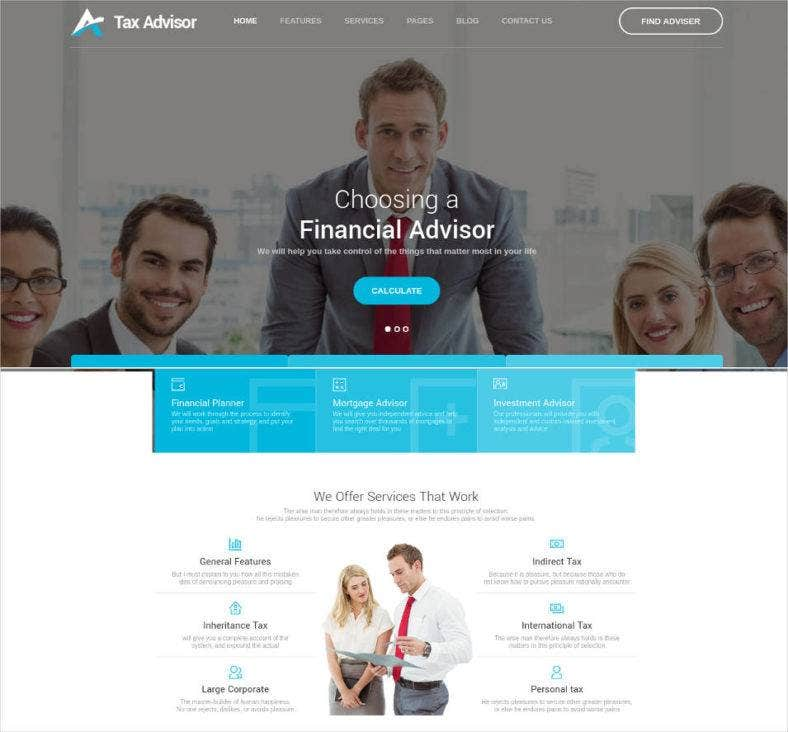tax advisor financial consulting attorney html template 788x732