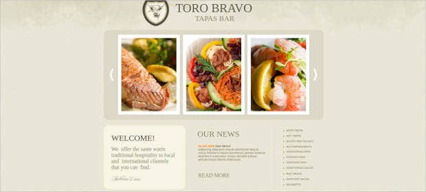 traditional cuisine website template