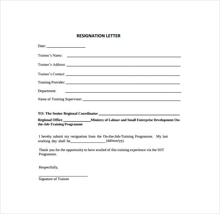 Trainee Resignation Letter