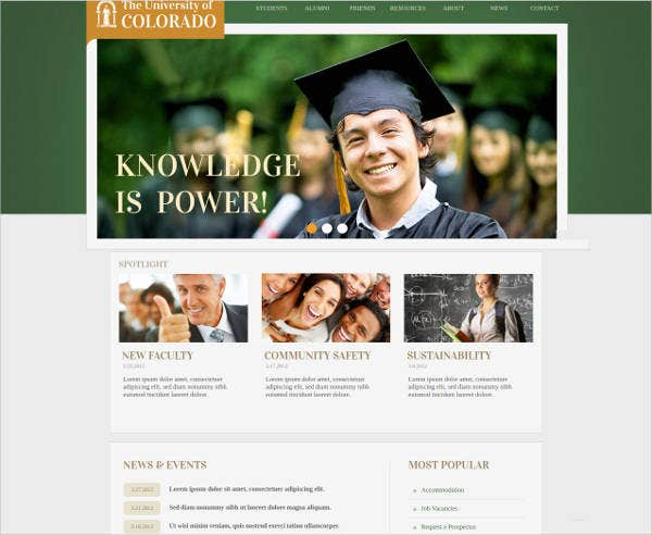 universities website theme template