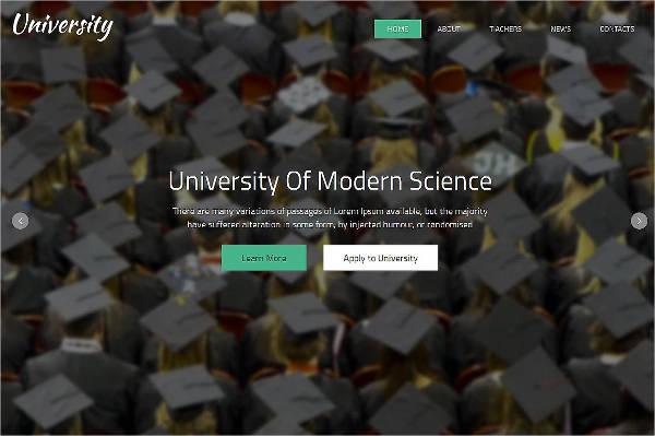 university responsive one page theme