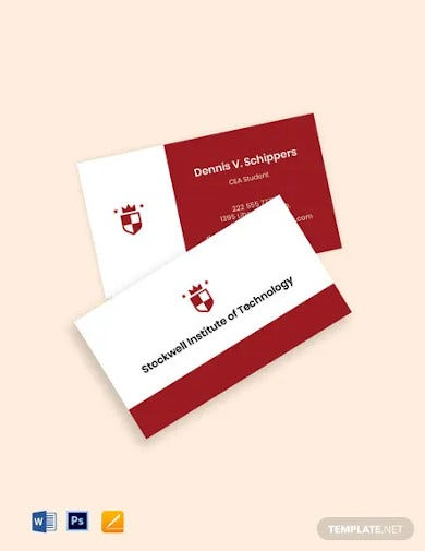 university student business card template