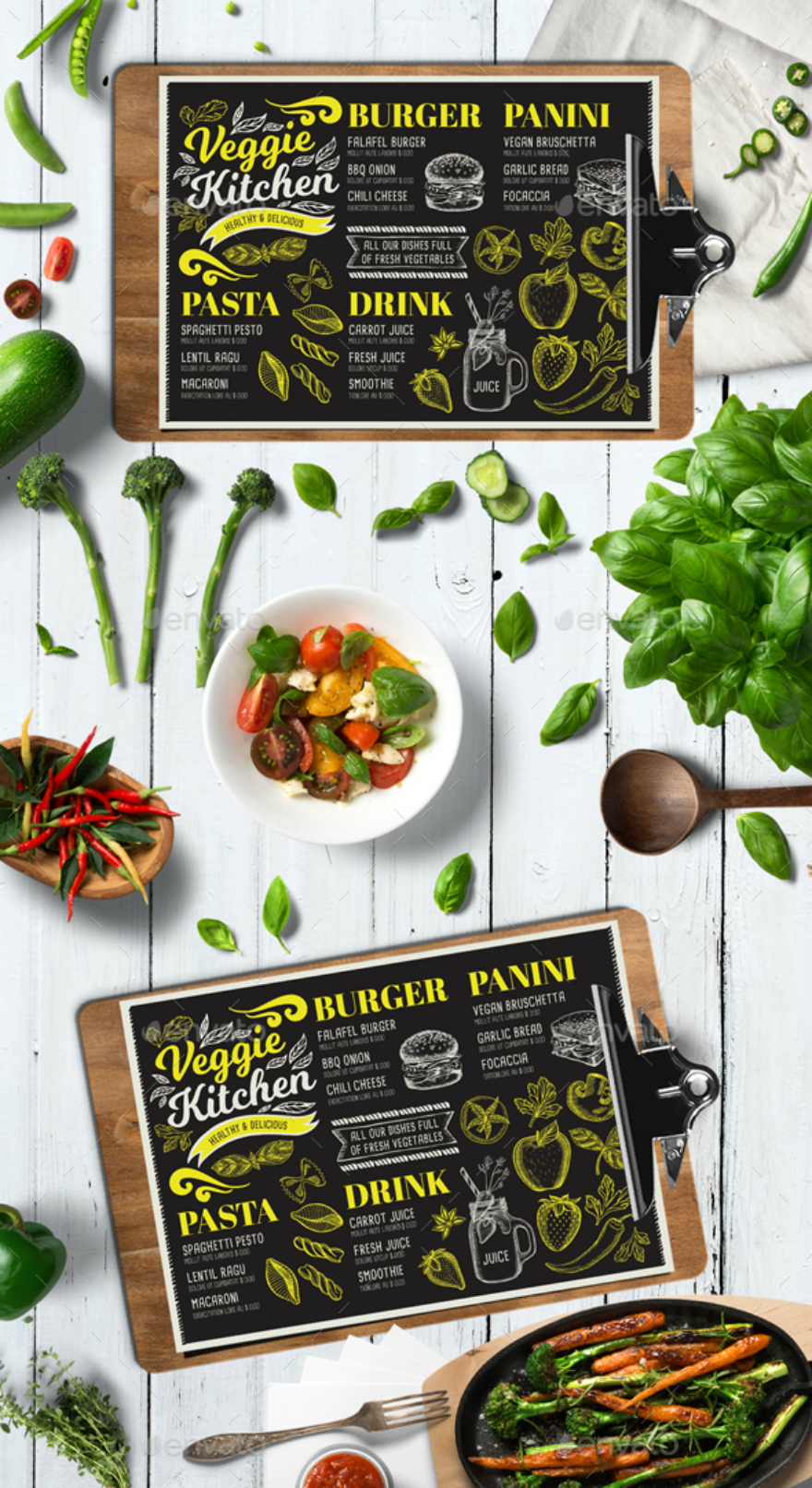 vegan food menu card