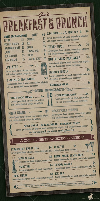 vintage breakfast brunch menu template