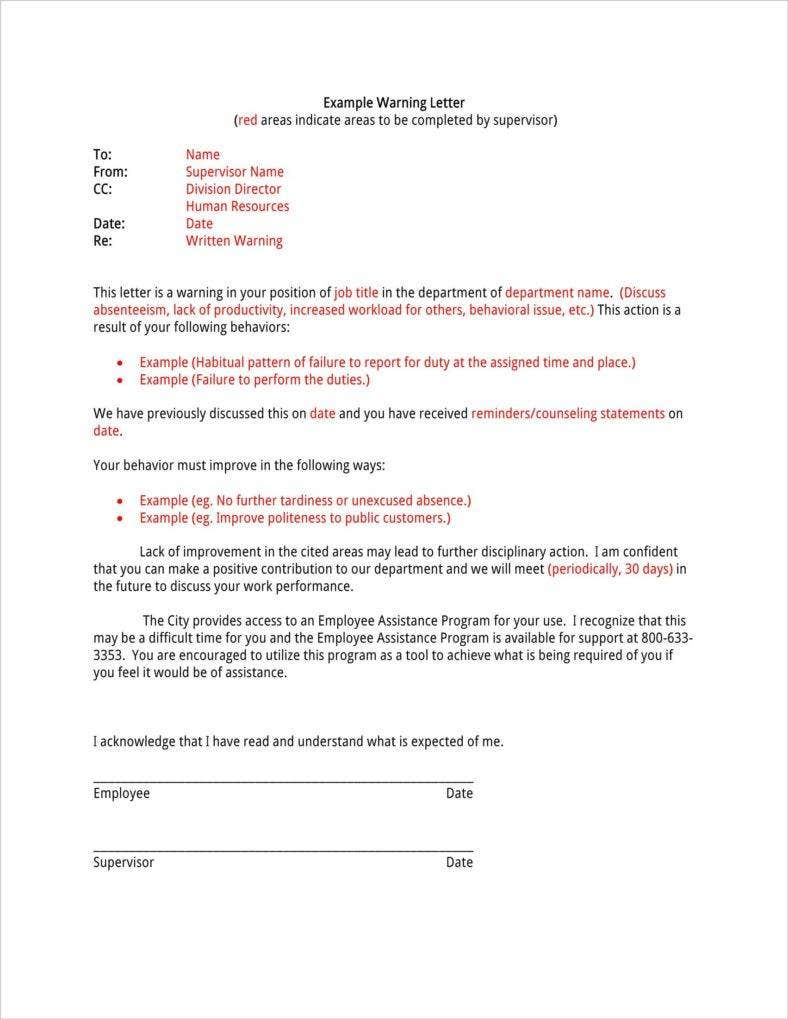 Absence Warning Letter Templates  Free Word Pdf Excel Format