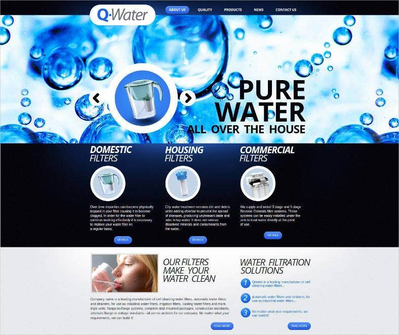 water filter website template 788x661