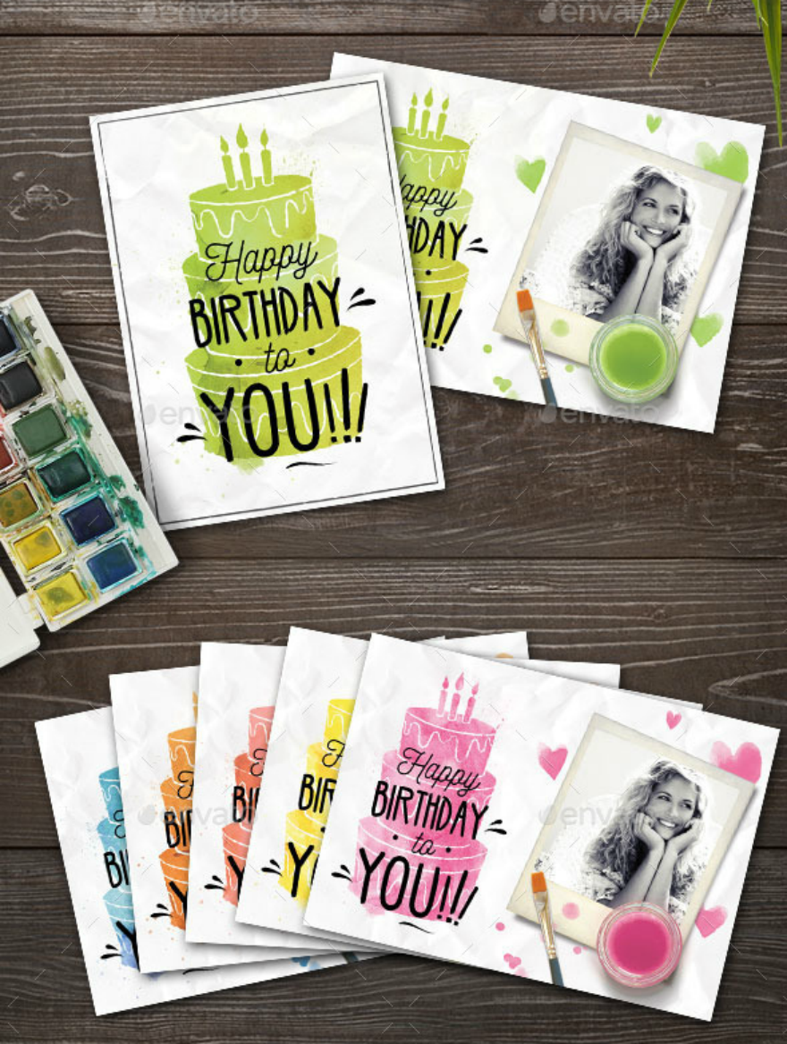 watercolor birthday card psd