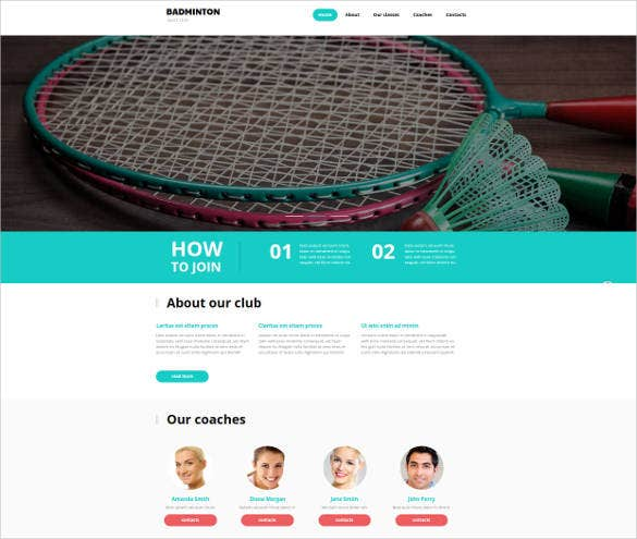 web template for a badminton