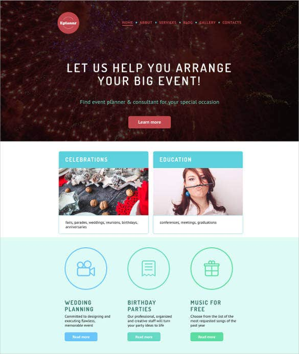 website design for event planner