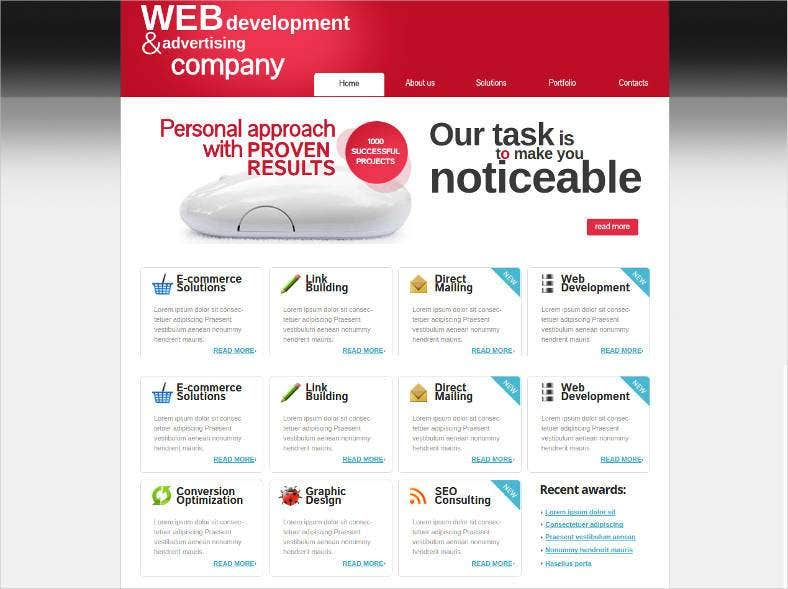 website template for advertising companies 788x589