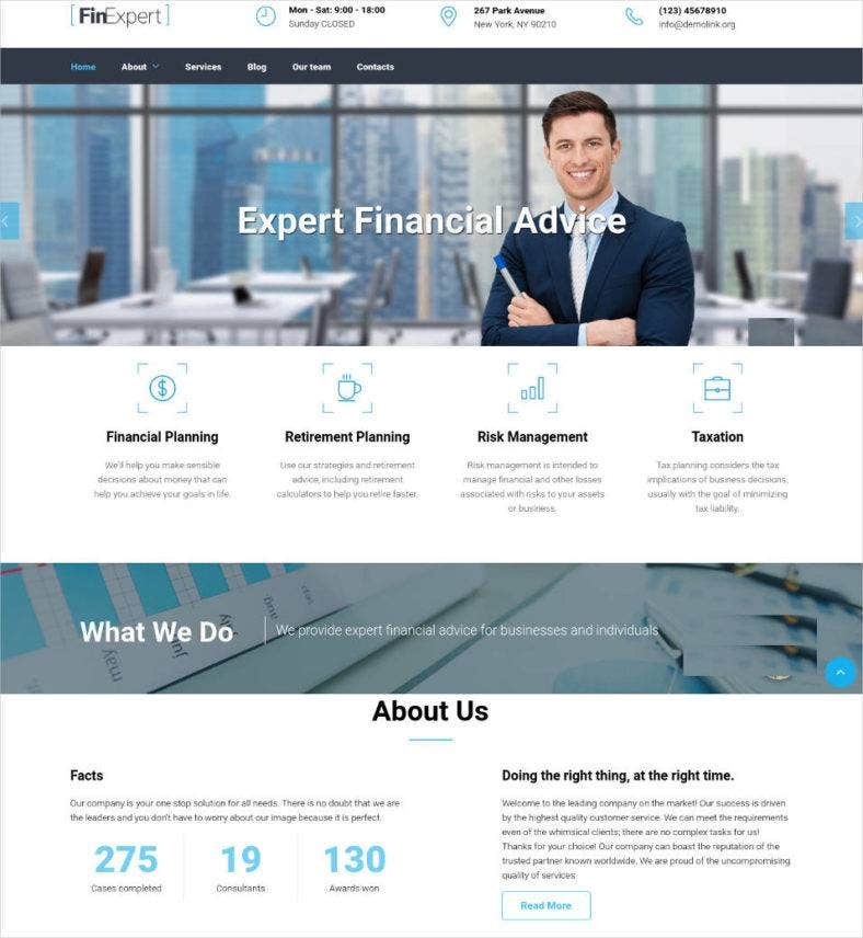 website template for financial advisor 788x856