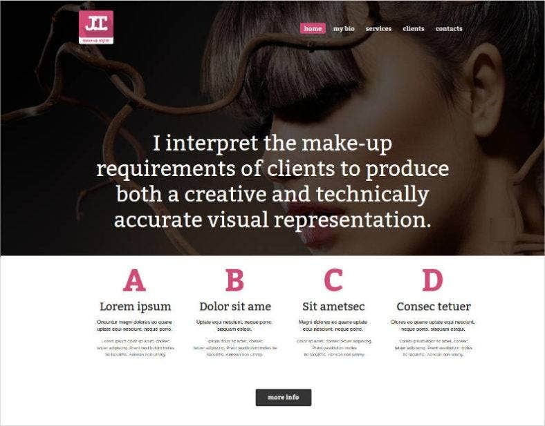 Website Template For Makeup Artist Portfolio