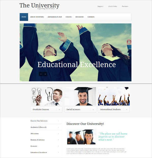 website template for universities