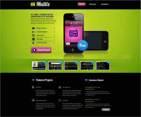 website theme for mobile software developers