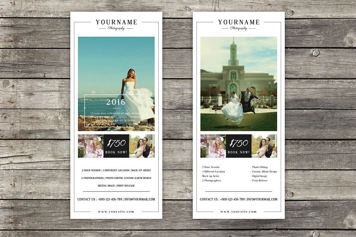 wedding photography rack card template
