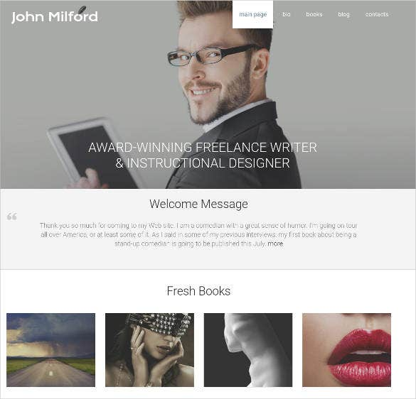 writer author responsive motocms template