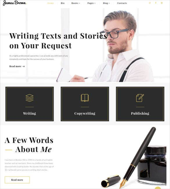 writer personal portfolio website theme