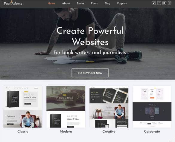 writer website theme