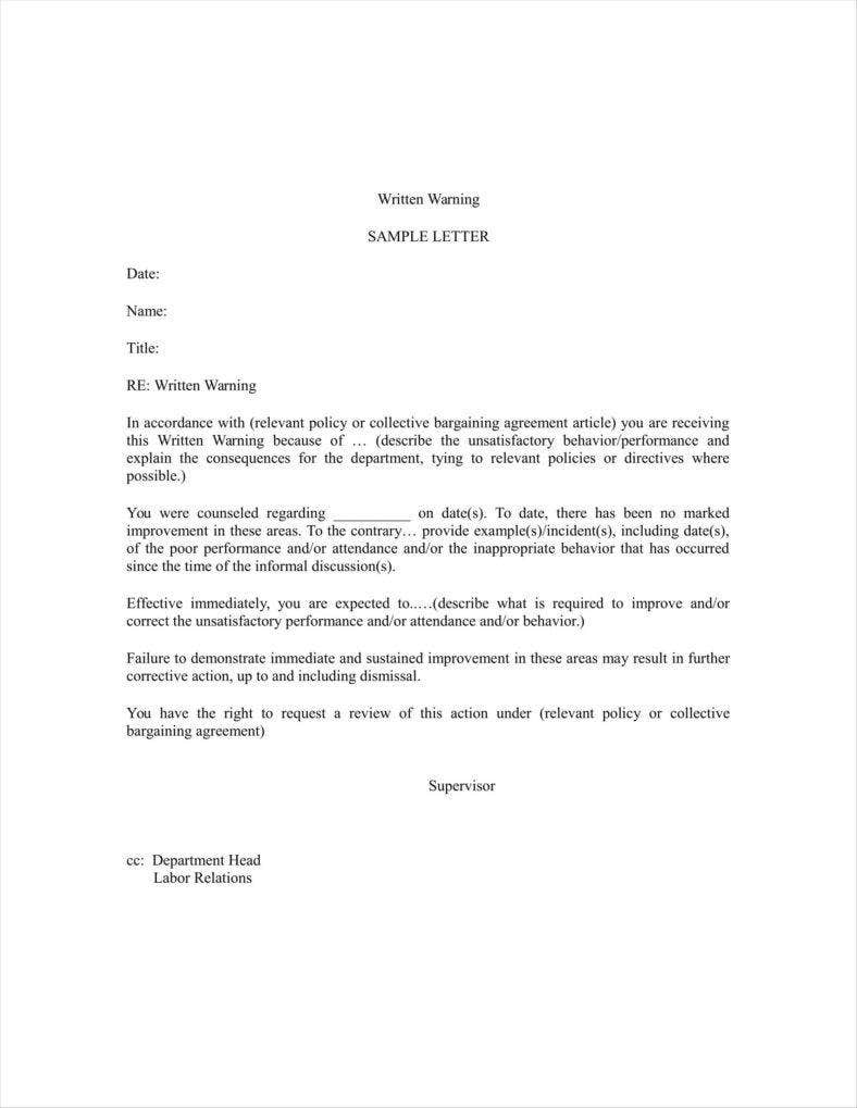 letter of reprimand template - 9 verbal warning follow up letter templates free