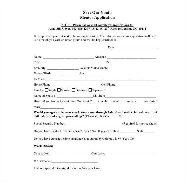 Youth Mentor Application Form