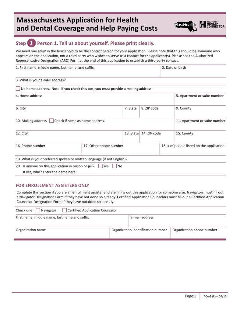 health insurance application template  9  Insurance Application Form Templates - Free PDF Format Download ...