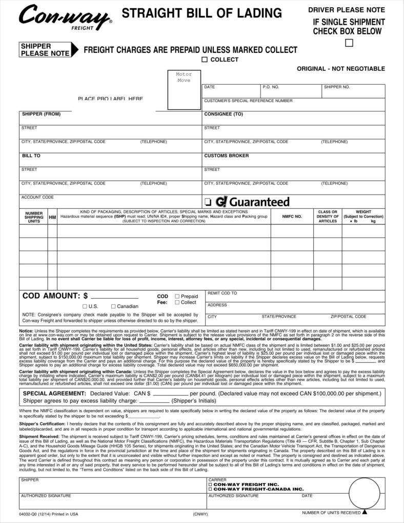 29+ Bill of Lading Templates - Free Word, PDF, Excel Format ...