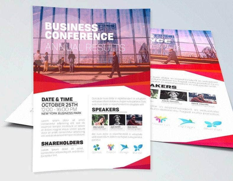 business conference flyer photoshop template  788x613