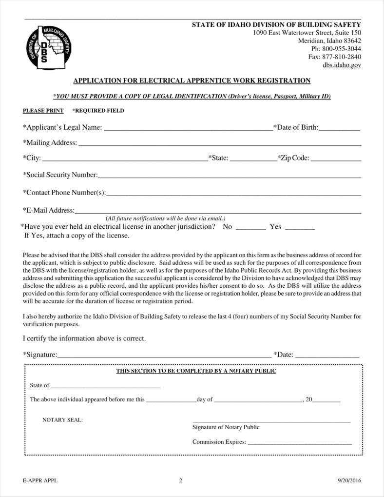 9  apprenticeship application form templates