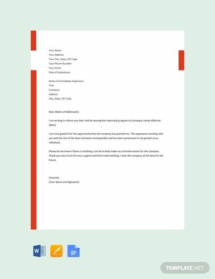 free internship resignation