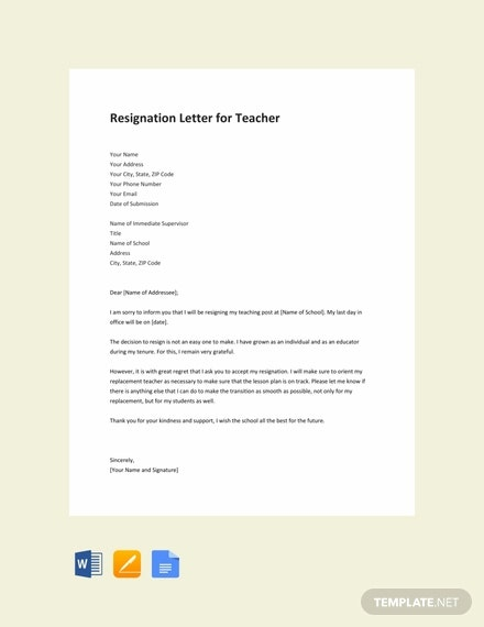 free resignation letter for teaching