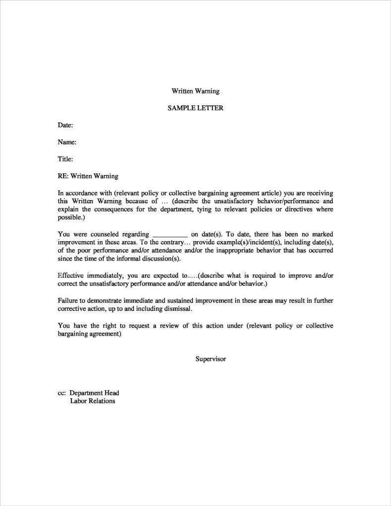written warning sample letter letter_of_warning sample