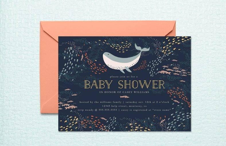 Marine Life Baby Shower Invite