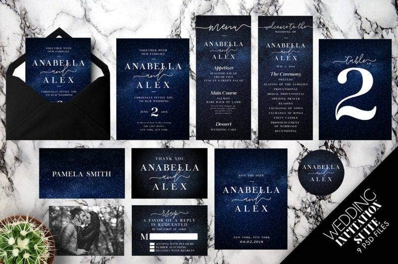 night sky wedding invitation