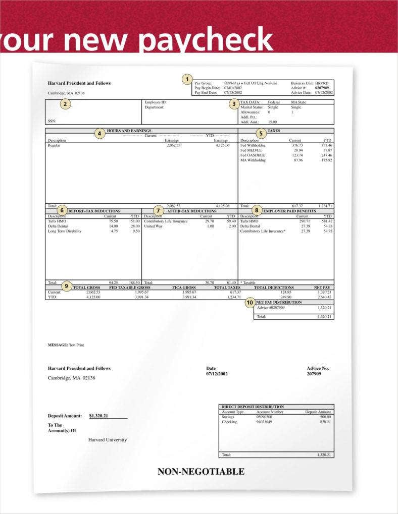 free payroll check stub template download - 9 free check stub templates free pdf doc format