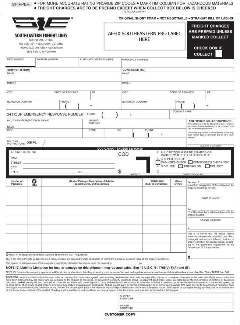 Blank Bill Of Lading Template Sample