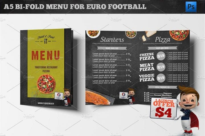 football menu template