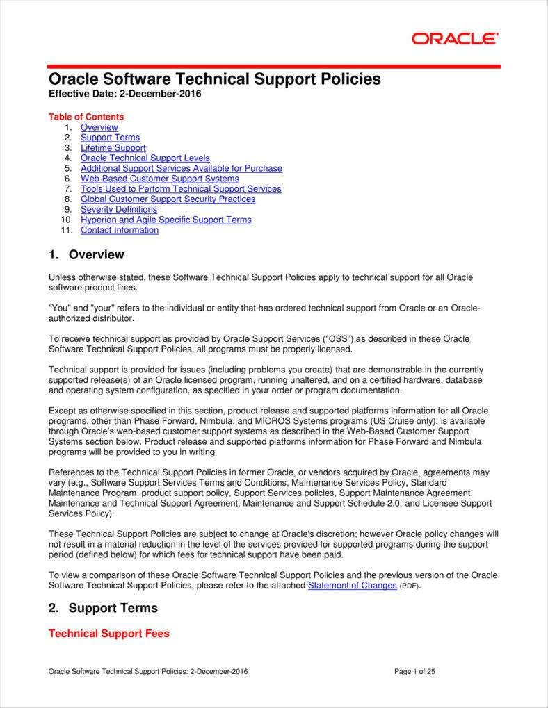 software technical support policy template