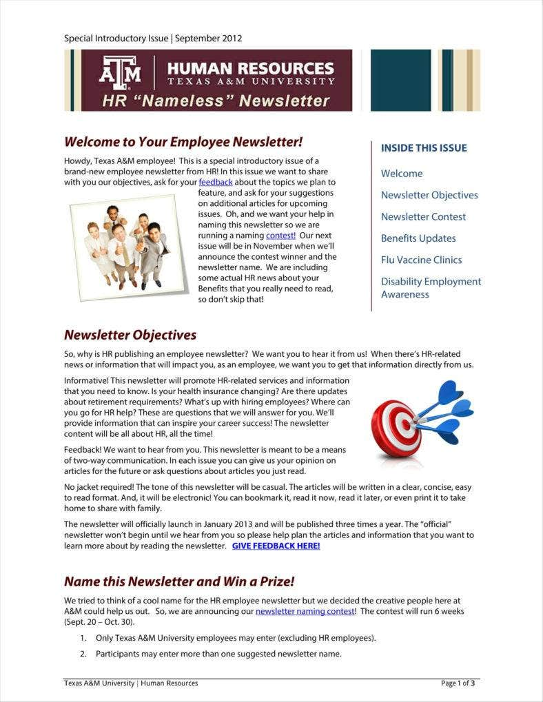 9 sample employee newsletter templates free pdf format download