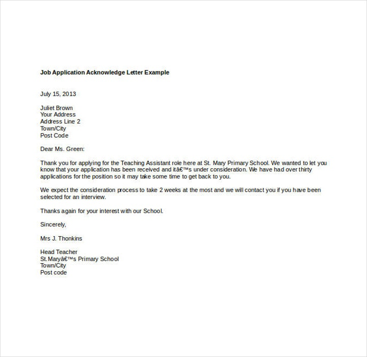 Acknowledgement Letter for Job Application Template