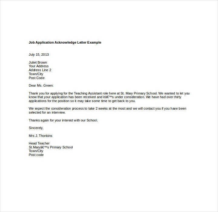 Acknowledgement Letter for Job Application